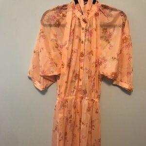 Peach Floral Wide Sleeve Silky Sheer Dress